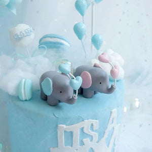 Elephant with Heart Balloon Cake Toppers-blue baby shower, elephant boy-Heart Ball Elephant Blue-Cheery Toppers