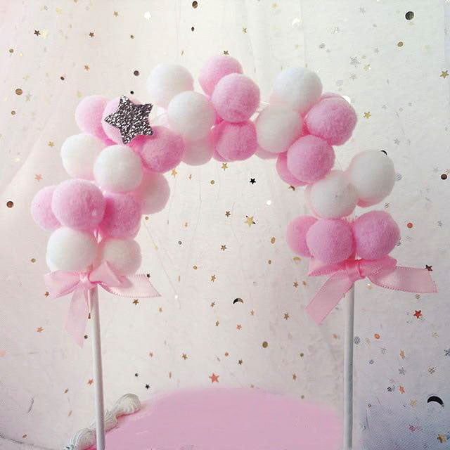 Pom Pom Balloon Banner Cake Topper (Pink)-banner, pink baby shower, unicorn, unicorn 1st birthday, unicorn baby shower, unicorn birthday-Cheery Toppers