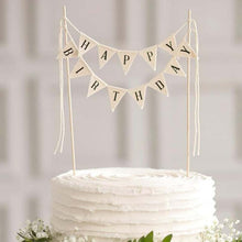 "Load image into Gallery viewer, ""Happy Birthday"" Triangle Banner Cake Topper-""Happy Birthday"", Banner-Plain-Cheery Toppers"
