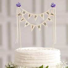 "Load image into Gallery viewer, ""Happy Birthday"" Triangle Banner Cake Topper-""Happy Birthday"", Banner-Purple-Cheery Toppers"