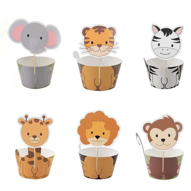 Jungle Animals Cupcake Wrappers (Set of 6)-Cupcake Baby Shower, Cupcake Birthday, jungle, Jungle Baby Shower-Cheery Toppers