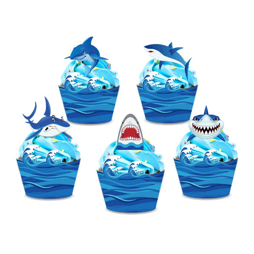 40 Piece Great White Shark Cupcake Topper-Cupcake Birthday, Shark, Sharks-Shark-Cheery Toppers