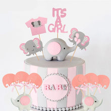 Load image into Gallery viewer, It's A Girl! Baby Shower Pink Elephant Cake Toppers-elephant girl, girl baby shower, pink baby shower-Cheery Toppers