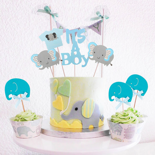 It's A Boy! Baby Shower Blue Elephant Cake Toppers-blue baby shower, boy baby shower, Cupcake Baby Shower, elephant boy-Cheery Toppers