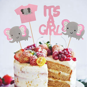 It's A Girl! Baby Shower Pink Elephant Cake Toppers-elephant girl, girl baby shower, pink baby shower-Cheery Toppers