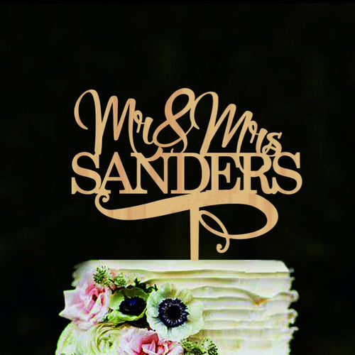 Modern Mr. and Mrs. Wedding Cake Topper