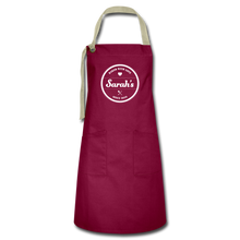 Load image into Gallery viewer, Personalized Badge Baker's Artisan Apron - burgundy/khaki