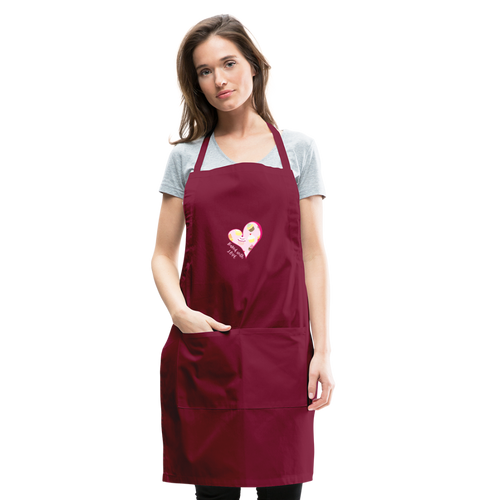 Baked with Love Adjustable Apron - burgundy