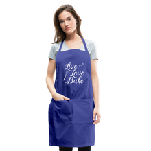 Load image into Gallery viewer, Live Love Bake Adjustable Apron - royal blue