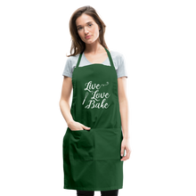 Load image into Gallery viewer, Live Love Bake Adjustable Apron - forest green