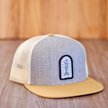 Load image into Gallery viewer, Patch hat grey with flat beige brim