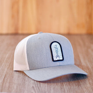 Patch hat grey with curved grey brim