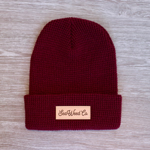 SeaWeed knit beanie hat in burgundy
