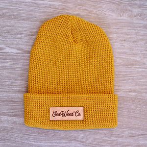 SeaWeed knit beanie hat in mustard