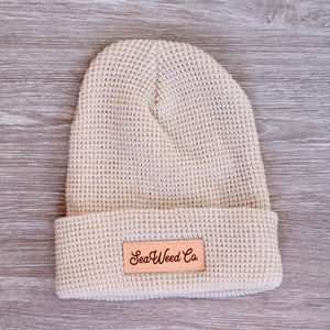 SeaWeed knit beanie hat in cream