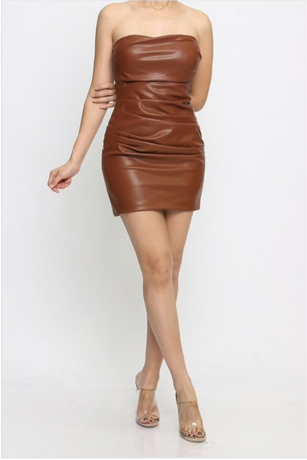 Vegan Leather Mini Dress