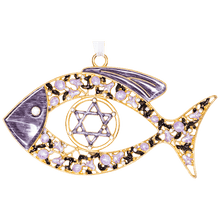 Load image into Gallery viewer, Enameled Floral Messianic Fish Wall Hanging