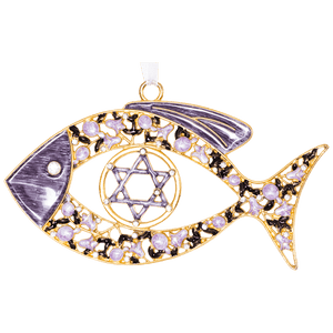 Enameled Floral Messianic Fish Wall Hanging