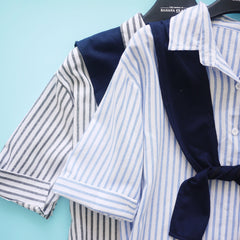 Rowan Blue Striped Boyfriend Shirt with Scarf