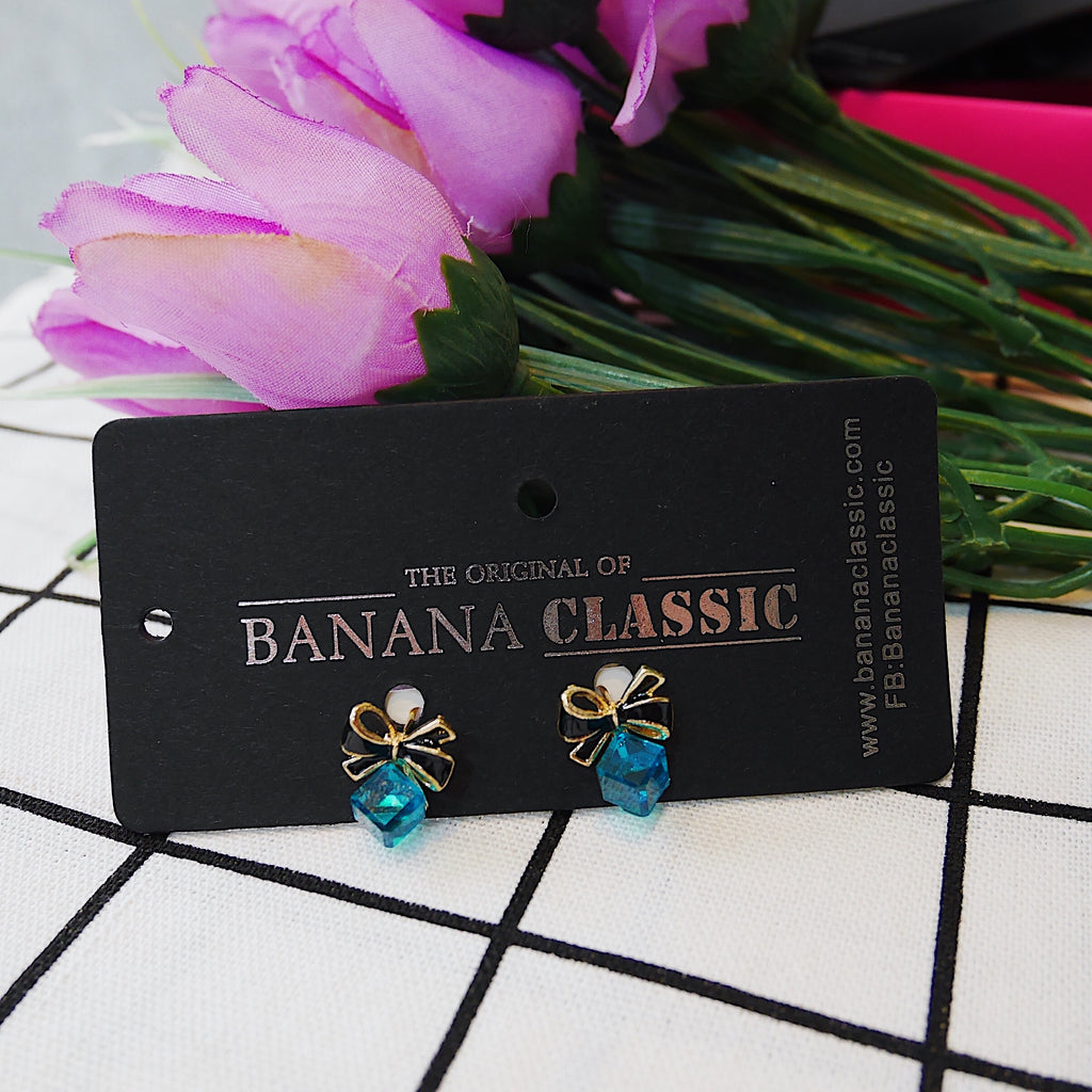 Ocean Blue Crystallize Cube Earrings
