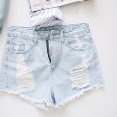 Ripped Denim Short Pant