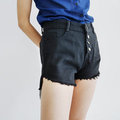 High Waist Buttons Denim