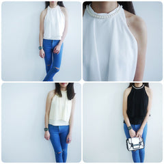 Pearl Neck Chiffon Flared Top