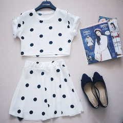 Polkadot cropped & skirt
