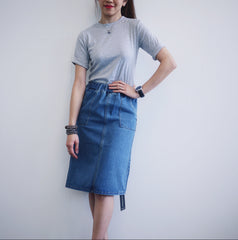 Denim Midi Pensil Skirt