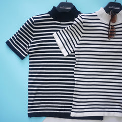 Vena Stripy Turtle Neck Top