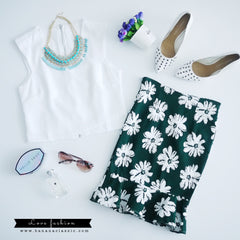 Green Flower Skirt Fish Tail