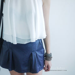 Leather Skort with Belt