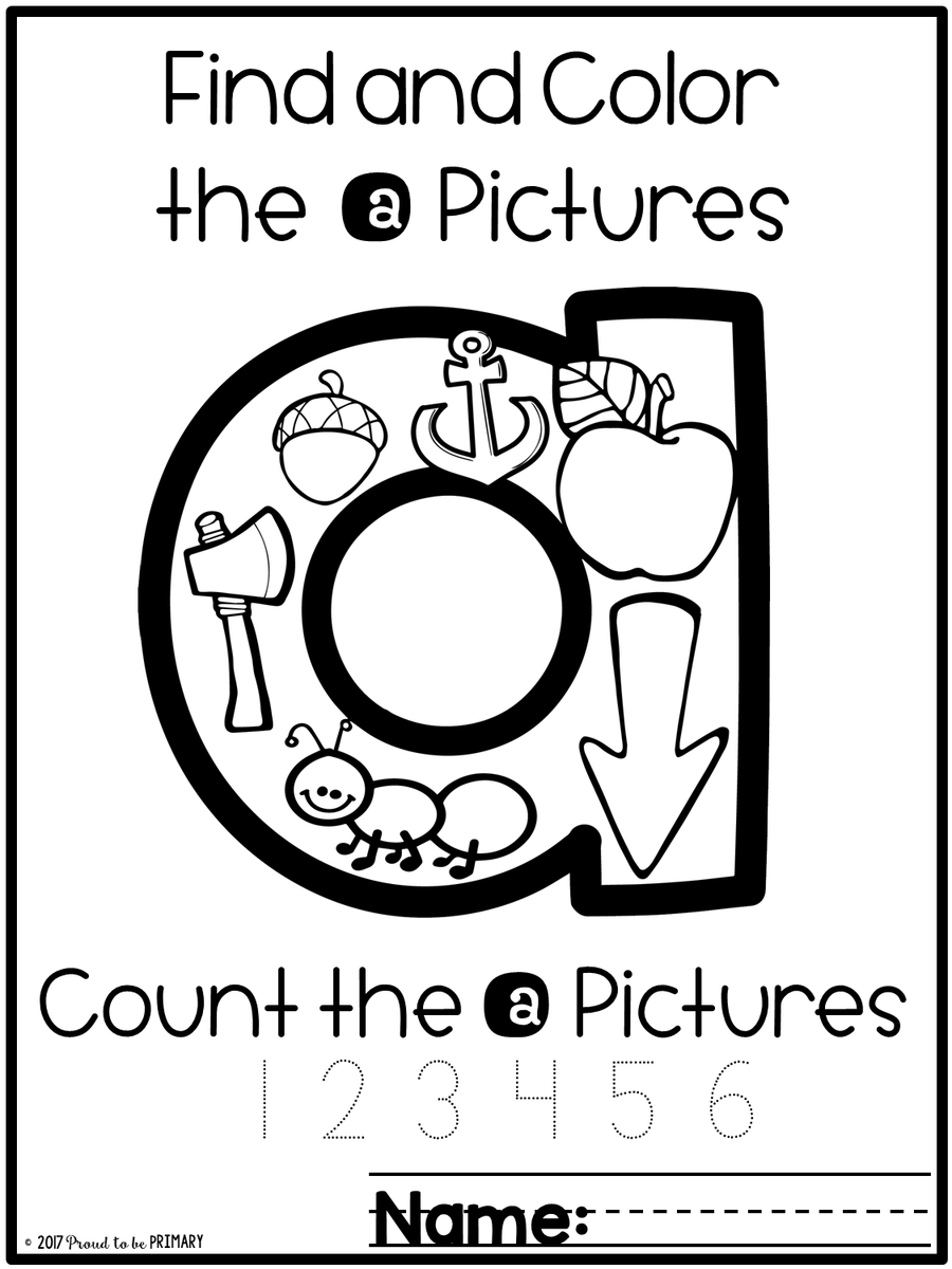 Alphabet Picture Search & Letter Coloring Sheets
