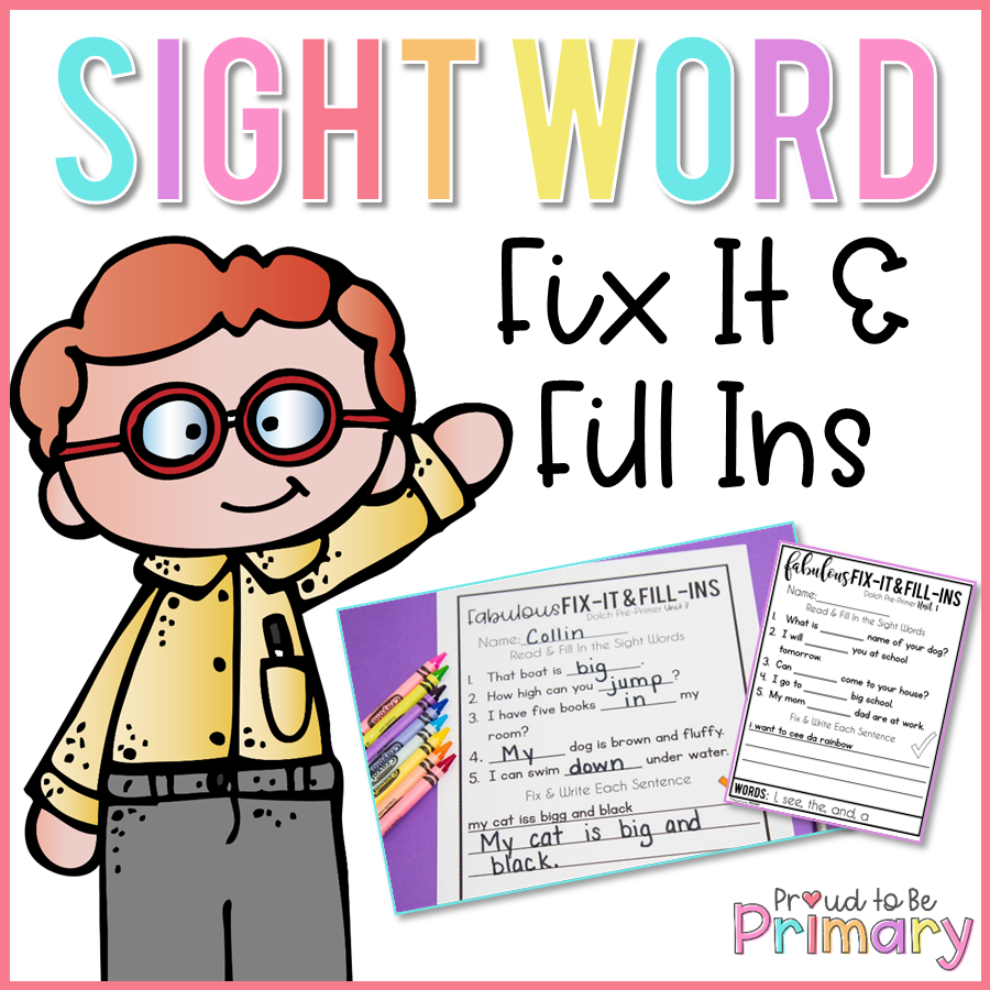 Dolch Sight Words Fill In Activities - Proud to be Primary