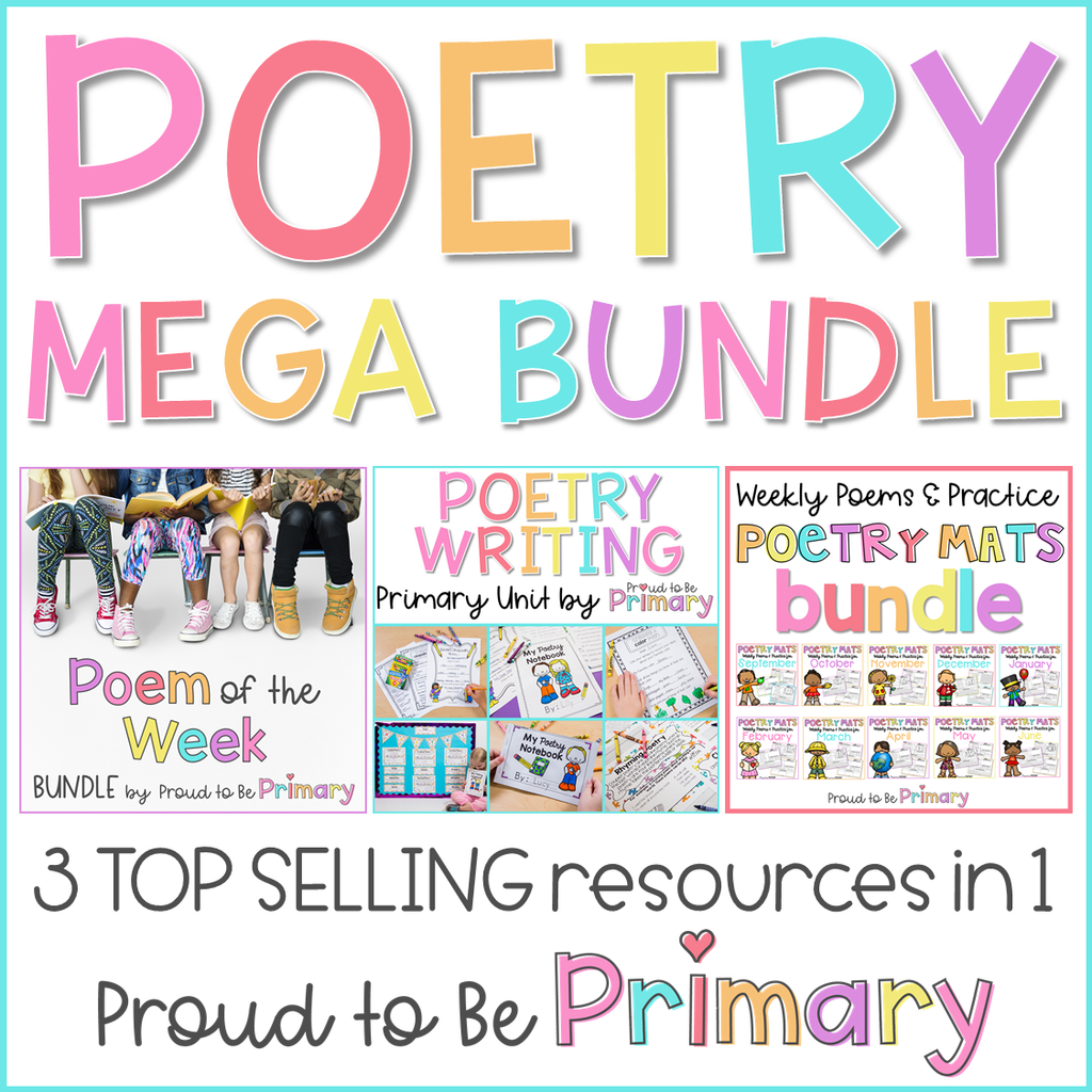 Poetry Mega Bundle (Poem of the Week, Poetry Writing, & Poetry Mats) - Proud to be Primary