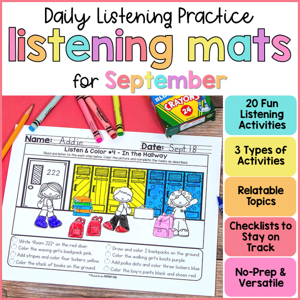 Listening Activities for Back to School (August or September) - Proud to be Primary