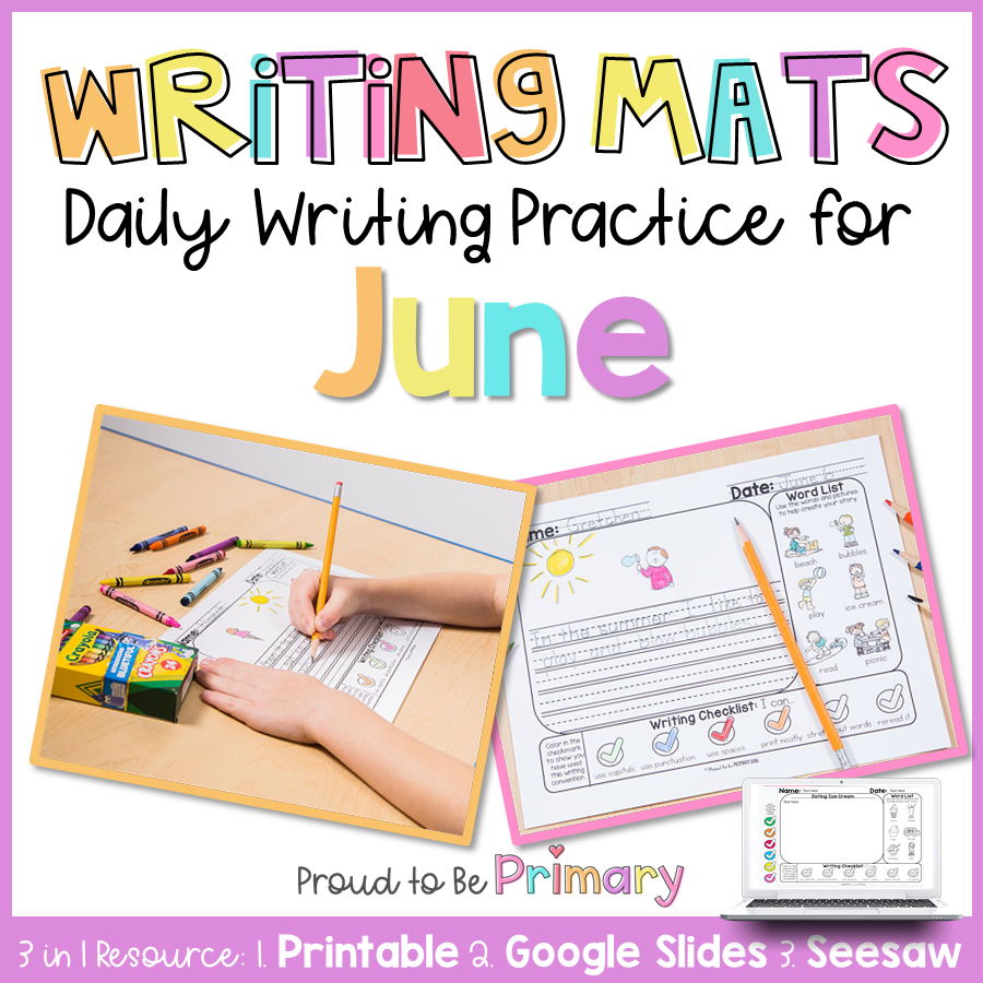 Summer Writing Prompts Practice for June | Digital & Printable | Distance Learning - Proud to be Primary