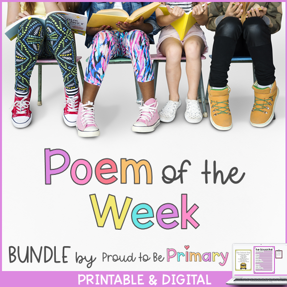 Poem of the Week BUNDLE for Interactive Poetry (65 poems + 20 nursery rhymes) | Printable & Digital