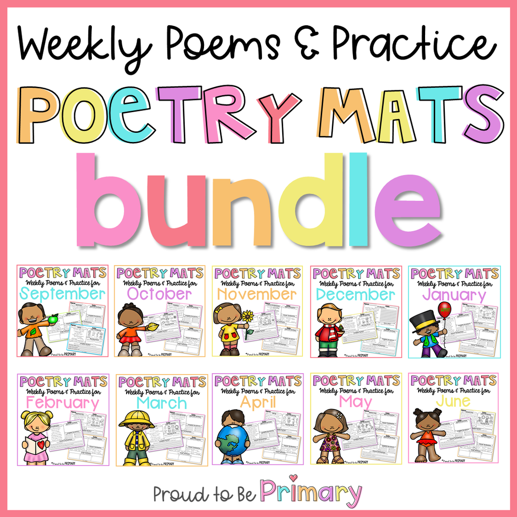 Poem of the Week Poetry Activity Mats Bundle - Proud to be Primary