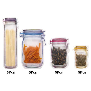 Mason Jar Zip Closure Storage Bags - Home & Kitchen Gear