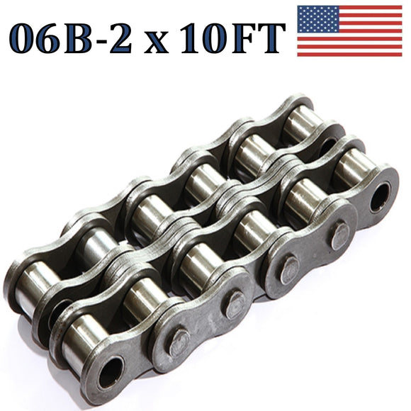 06B-2 Double Strand Roller Chain 3.05 Meters / 10 FT With Free Connecting Link