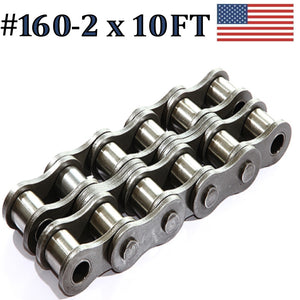 160R-2 DOUBLE STRAND ROLLER CHAIN 10FT WITH CONNECTING LINK SAME DAY SHIPPING
