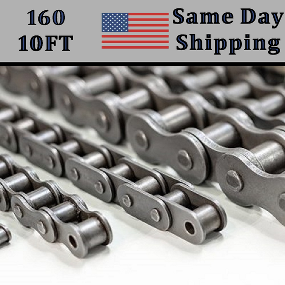 #160 Roller Chain 10 FT + Free Connecting Link - Same Day Priority Shipping