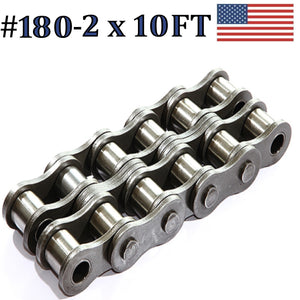 180R-2 DOUBLE STRAND ROLLER CHAIN 10FT WITH CONNECTING LINK SAME DAY SHIPPING