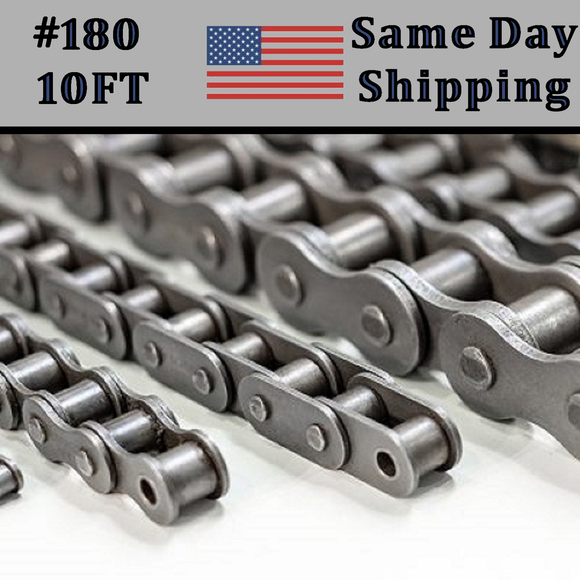 #180 Roller Chain 10 FT + Free connecting Link Dame Day - Priority Shipping