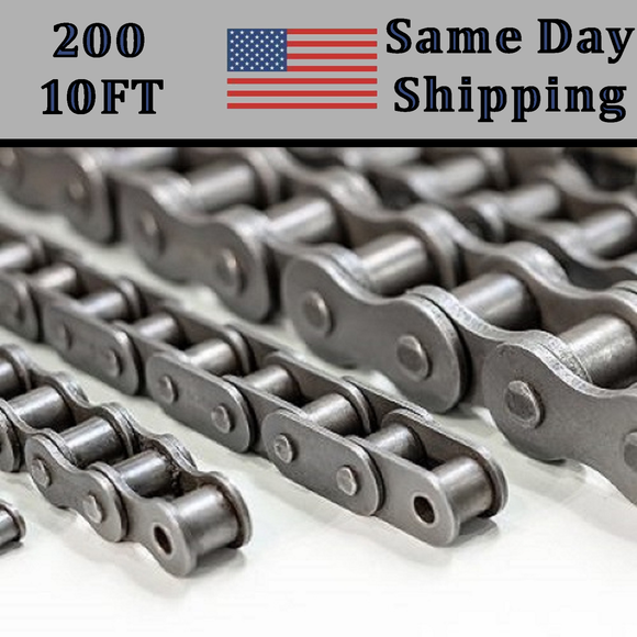 #200 Roller Chain 10 FT + Free connecting Link Dame Day - Priority Shipping