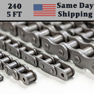 #240 Roller Chain 5 FT + Free connecting Link Dame Day - Priority Shipping