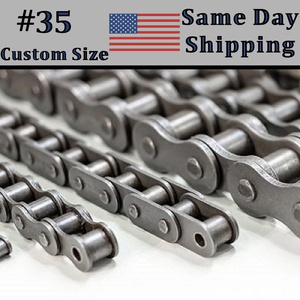 "#35 Roller Chain CUSTOM CUT 1ft 2ft 3ft 4ft 5ft 6ft 7ft 8ft 9ft 10ft 3/8"" Pitch"