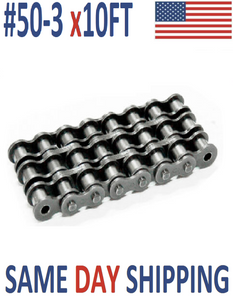 #50-3 Roller Chain 10 FT + With Connecting Link - Same Day Shipping