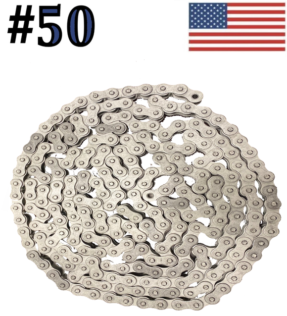 #50 x 10ft Dacromet Plated Corrosion Resistant Roller Chain With Connection Link